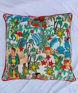 24x24 Indian White Frida Khalo With Red Piping Cushion Cover Sofa Pillow Case US