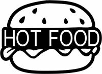 Hot Food Burger, Burger Van Sticker, Catering Trailer, Cafe, Catering 600mm wide