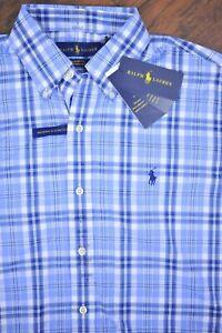 NWT Polo Ralph Lauren Performance Button Front Shirt Blue Men's Small S