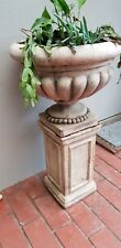 vintage concrete garden pot on stand