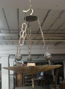 Antique Brass Starburst Uplight Hanging Light Fixture