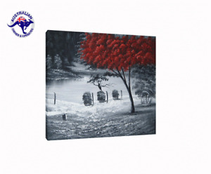FRAMED HUGE RED TREE ON BLACK AND WHITE LAKE LANDSCAPE HAND PAINTED OIL PAINTING