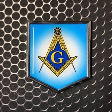 "Mason Masonic FREEMASON Domed CHROME Emblem Proud Flag Car 3D Sticker 2""x 2.25"""