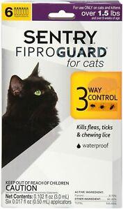 SENTRY FIPROGUARD for CATS 6 MONTHS Treatments Kills FLEAS TICKS LICE WATERPROOF