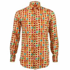Mens Shirt Loud Originals SLIM FIT Dotty Orange Retro Psychedelic Fancy