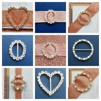 Silver Buckles Circles Hearts Diamanté Pearl Wedding Invite Embellishment Craft