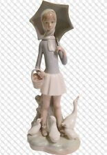 Lladro 4510 Girl With Umbrella / Basket And Geese