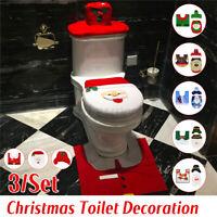 3pcs Christmas Xmas Decoration Santa Toilet Seat Cover + Rug Bathroom Mat Set