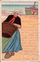 Vintage Art Postcard, Dutch Girl carrying basket, c1908, Dunbridge Ohio pstmk b3
