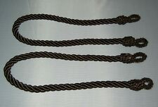 "LN 2 Cord / ROPE TIEBACKS 22"" long Dark Brown Rayon"