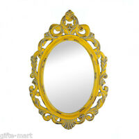 baroque distressed YELLOW shabby vintage carved wood bathroom entry Wall Mirror