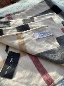 Pure 100% CASHMERE Plaid Wool BURBERRY Baby Blanket Pram Basket Wrap