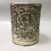 Collect noble Silver copper People under pine trees landscape statue brush pot