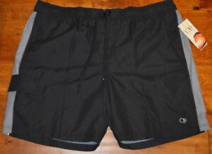 Men's Op Black & Gray Splice Elastic Waist Swim Trunks Shorts Sizes S, 3XL