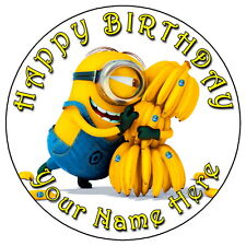 """MINIONS BANANA PARTY - 7.5"""" PERSONALISED ROUND EDIBLE ICING CAKE TOPPER"""