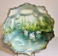 RS Prussia Antique Porcelain Bowl Swans on Lake Repaired