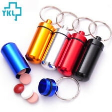 New Waterproof Pill Box Keychain Al Medicine Case Bottle Drug Holder Container