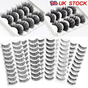 10Pairs 3D Fake Eyelashes Long Thick Natural False Eye Lashes Set Mink Makeup UK