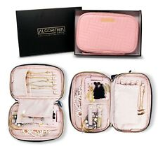Travel Jewelry Organizer Storage Case Zip Leather Bag Roll Pouch Pink Necklace