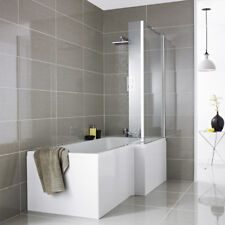 Square Right Hand L Shaped Shower Bath Inc Screen & Panel 1700mm x 850/700mm