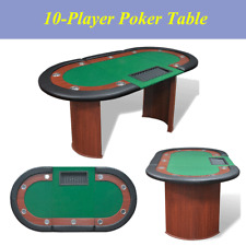 Green 10-Player Poker Table Leather w/ Dealer Area and Chip Tray Stable Durable