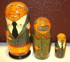 Vintage Antique Russian Nesting Dolls Stalin Lenin Gorbachev Matryoshka Wood ~Ss