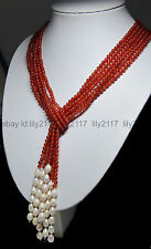 """New Long Beautiful 3 Strands Natural 4mm Red Ruby Freshwater Pearl Necklace 50"""""""