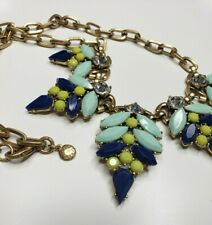 J.Crew Gold Tone Chainlink Rhinestone Blue Green Jeweled Necklace Jewelry 19""