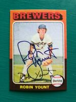 1975 Topps ROBIN YOUNT Brewers REPRINT Autographed MLB Baseball Rookie Card #223