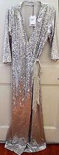 New $1500 Diane von Furstenberg DVF Julian Silver Sequin Maxi Long Wrap Dress 12