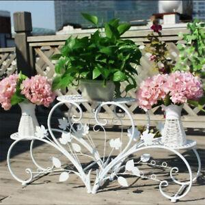 UNHO Outdoor Indoor Metal Flower Pots Planter Plant Stands Garden Shelf Racks