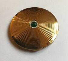 Vintage Pygmalion Green Glass Cabachon Brass Make Up Compact