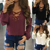 Fashion Women Blouse Summer V Neck  Ladies Long Sleeve LooseCasual Shirt Tops