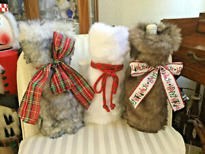 FAUX FUR WINE BAGS BROWN, BLACK & WHITE SIZE 7 x 14 INCHES