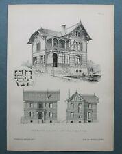 AR90) Architektur Stuttgart Degerloch 1890 Villa + Grundriss Holzstich 28x39cm