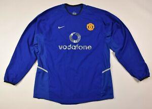 Nike Manchester United Vodafone soccer football jersey shirt long  Blue men's L