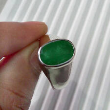 5.5 Cts Colombian Emerald Gemstone 925 Sterling Silver Artisan Men's Ring Size 9