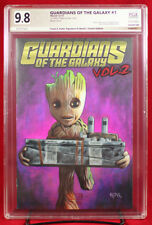 GROOT with BUTTON GOTG #1 PGX (not CGC) 9.8 NM/MT Sketch Cover by FRANK A. KADAR