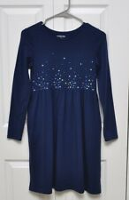 Lands' End Navy Blue Pullover Dress Girls with Sequin / Sparkle Size 10-12