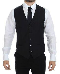 DOLCE & GABBANA Black Wool Stretch Dress Vest Blazer IT48 / US38 / M
