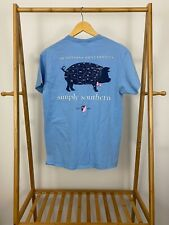 Simply Southern Women's Cute Pig Bowtie Southern States Blue T-Shirt Size M