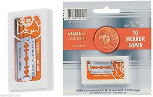 10x Merkur Super Platinum Double Edge Safety Razor Blade Made In Germany