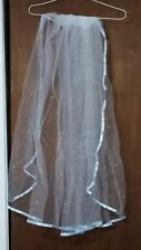 """Shimmering White wedding veil w/pearls and light blue trim by """"Illusions."""""""
