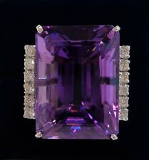 Large Amethyst and Diamond Ring 750 (18ct) White Gold - Art Deco Style - Size S