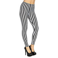 New Street Fashion Rock Punk Vertical Striped Print Black Leggings Footless Pant