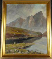 Original 1948 German Mountain Landscape Oil Painting by Fritz Scheiniger Listed