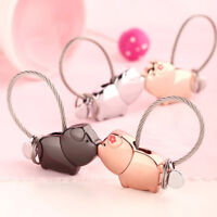 AM_ EG_ Cute Kissing Sweet Animal Pig Charm Couple Keychain Key Ring Decor Gift