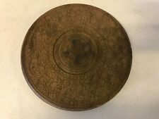 Vintage Anglo Indian Sheesham wood? Carved Side Table Top Brass Inlaid