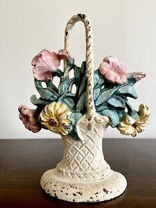 Antique 1900's Hubley Cast Iron Flower Basket Doorstop #120