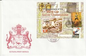 GUYANA 12 AUG 2005 75th WORLD CUP ANNIVERSARY SOUVENIR SHEET FIRST DAY COVER